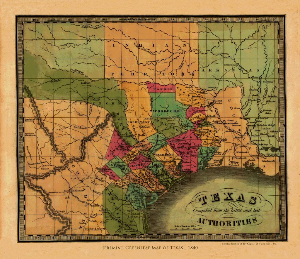 Map Of Texas 1840.Greenleaf S Map Of The Republic Of Texas 1840
