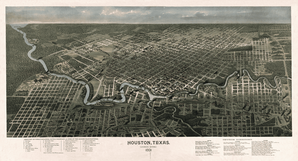 1891 Bird's Eye Map of Houston