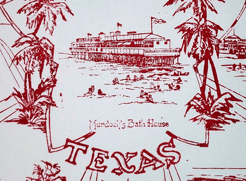 1930s Galveston - Murdoch's Bath House Print - Red