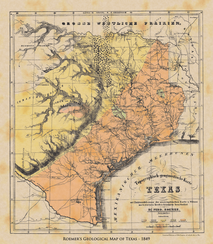 Roemer's Geological Map of Texas - 1849
