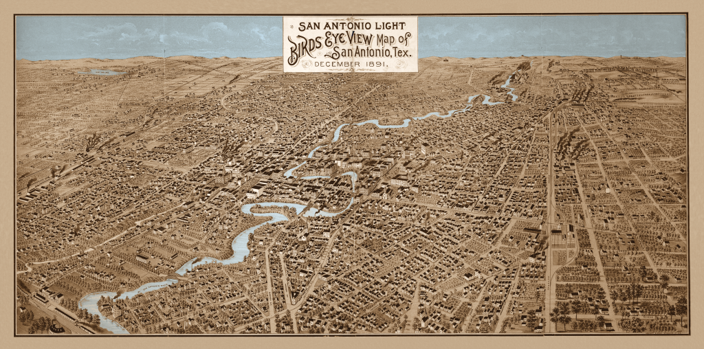 1891 Bird's Eye Map of San Antonio