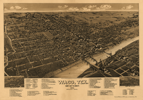 Bird's-Eye View of Waco - 1886