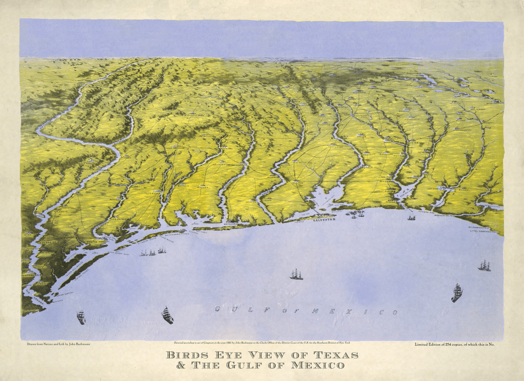 Bird's-Eye View of Texas - 1861