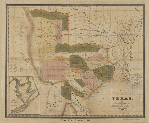 Texas Land Grant Map - 1834