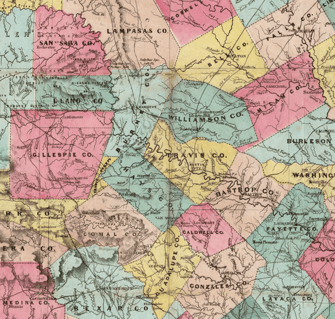 Jacob De Cordova's Map of Texas - 1856