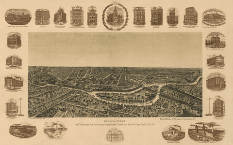 Bird's-Eye View of Dallas - 1892
