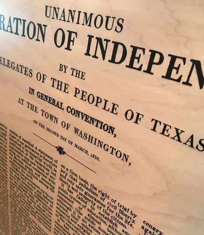 The Texas Declaration of Independence - Maple Wood Panel Print