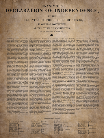 "Texas Declaration of Independence & Travis' ""Victory or Death"" Letter (2 print set)"