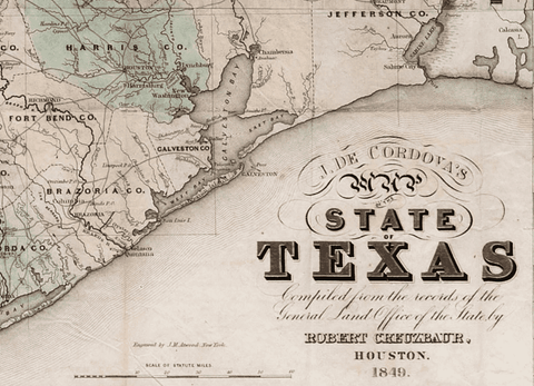 The First Official Map of Texas - 1849