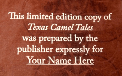 Texas Camel Tales - Limited Edition