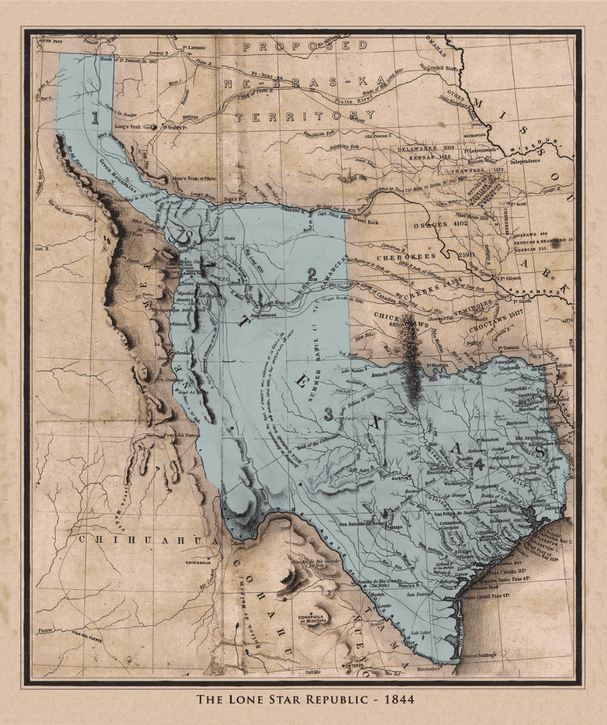 Emory's Republic of Texas Map - 1844
