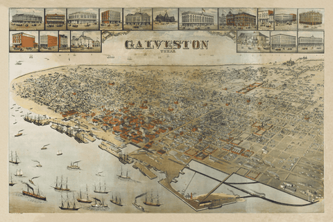 Galveston's Gilded Age - 1885 Bird's Eye Map