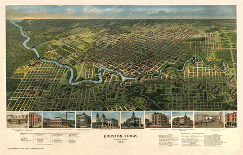 Bird's-Eye View of Houston - 1891