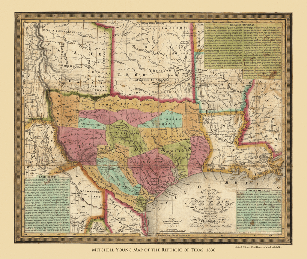 Mitchell Young Map Of The Republic Of Texas 1836 Copano Bay Press