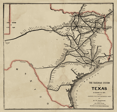 The Railroad System of Texas - 1881