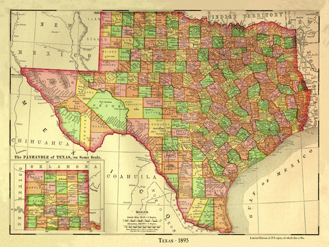 County Map of Texas - 1895