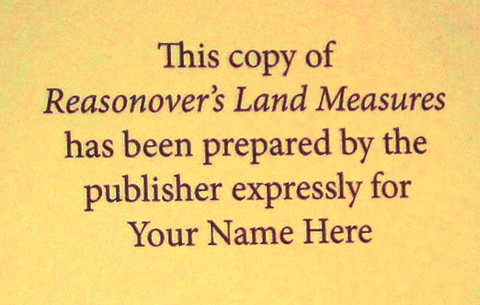Reasonover's Land Measures - Personalized Edition