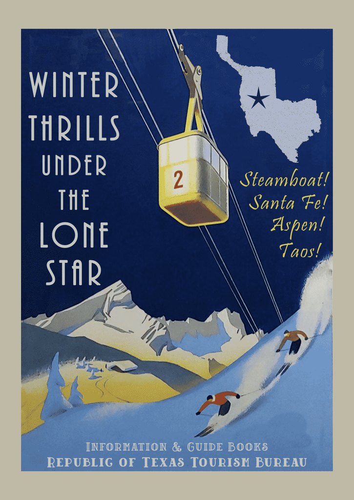 Winter Thrills - Fantasy Texas Ski Poster