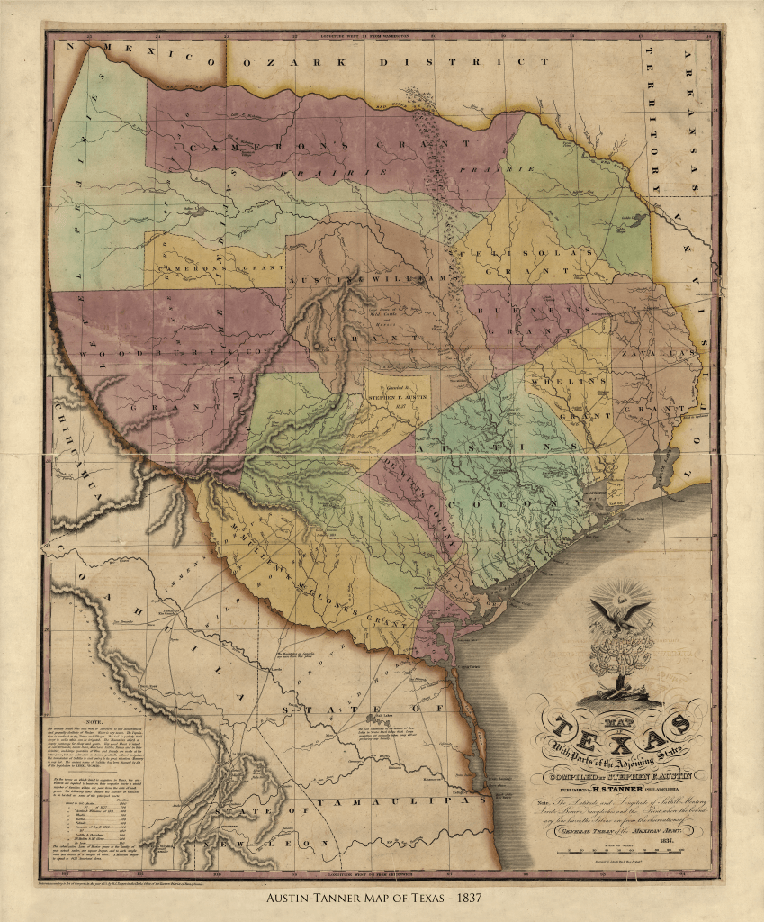 Stephen F. Austin's Map of Texas - 1837