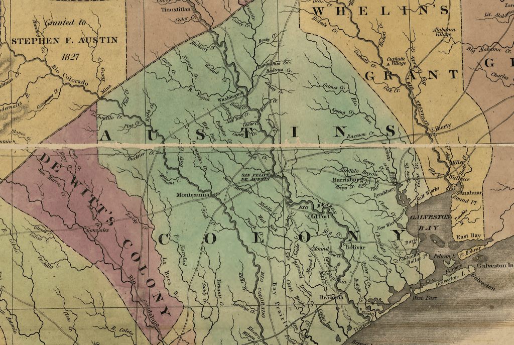 Map Of Texas Showing Austin.Stephen F Austin S Map Of Texas 1837