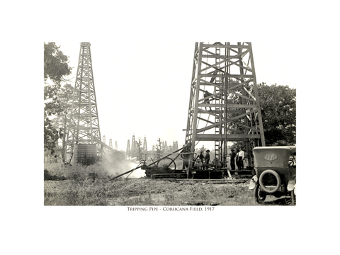 Tripping Pipe - Corsicana Field - 1917