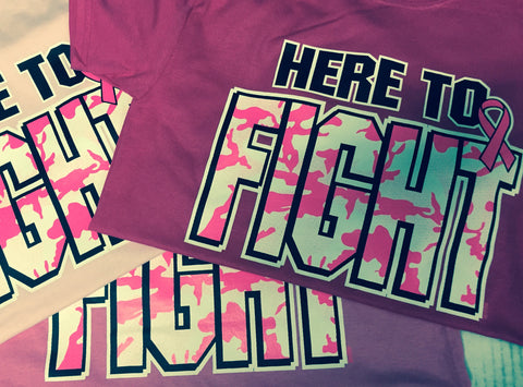 Breast Cancer Awareness T-Shirt Here to Fight