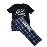 Not Today I Have Volleyball Matching Short Sleeve Tee and Plaid Pant PJ Set