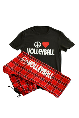 Peace Love Volleyball Pant and Tee Pajama Gift Set