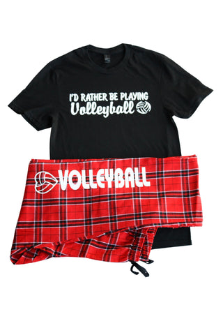 Volleyball Pajama Gift Set I'd Rather Be Playing Volleyball with Pant and Short Sleeve BlackTee