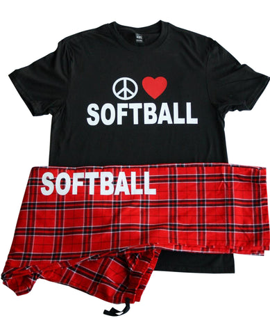 Peace Love Softball Pajama Pant and Tee Gift Set