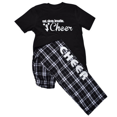 Cheer Pajama Pant and T-Shirt Eat. Sleep. Breathe. Cheer Gift Set