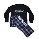 Eat Sleep Breathe Softball Pajama Long Sleeve and Pant Set