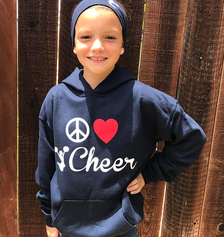 Peace Love Cheer Hooded Sweatshirt with headband