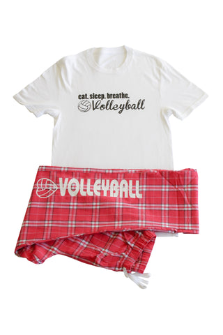 Volleyball Women's Eat Sleep Breathe White Tee and Pink Plaid Pant Set