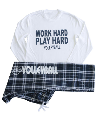 Volleyball Women's Work Hard Play Hard Long Sleeve and Pant PJ Set