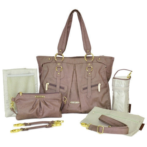 "timi & leslie ""Dawn"" Taupe Designer Baby Bag 7 Piece Set, Designer Diaper Bag,  Baby Nappy Bag Set"