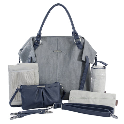 "timi & leslie ""Charlie"" Grey Navy Designer Baby Bag 7 Piece Set, Diaper Bag,  Baby Nappy Bag Set"