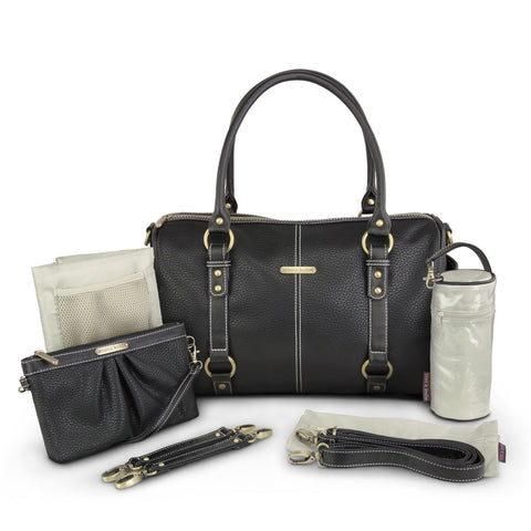 "timi & leslie ""Madison""Black Edition Designer Baby Bag, Nappy Bag 7 Piece Set, Celebrity Diaper Bag"
