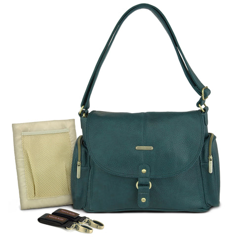 "timi & leslie New ""Bermuda Teal Metro Messenger Designer Baby Bag Set, Diaper Bag Nappy Bag"