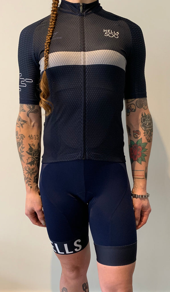 NAVY GREY STRIPE JERSEY WOMENS