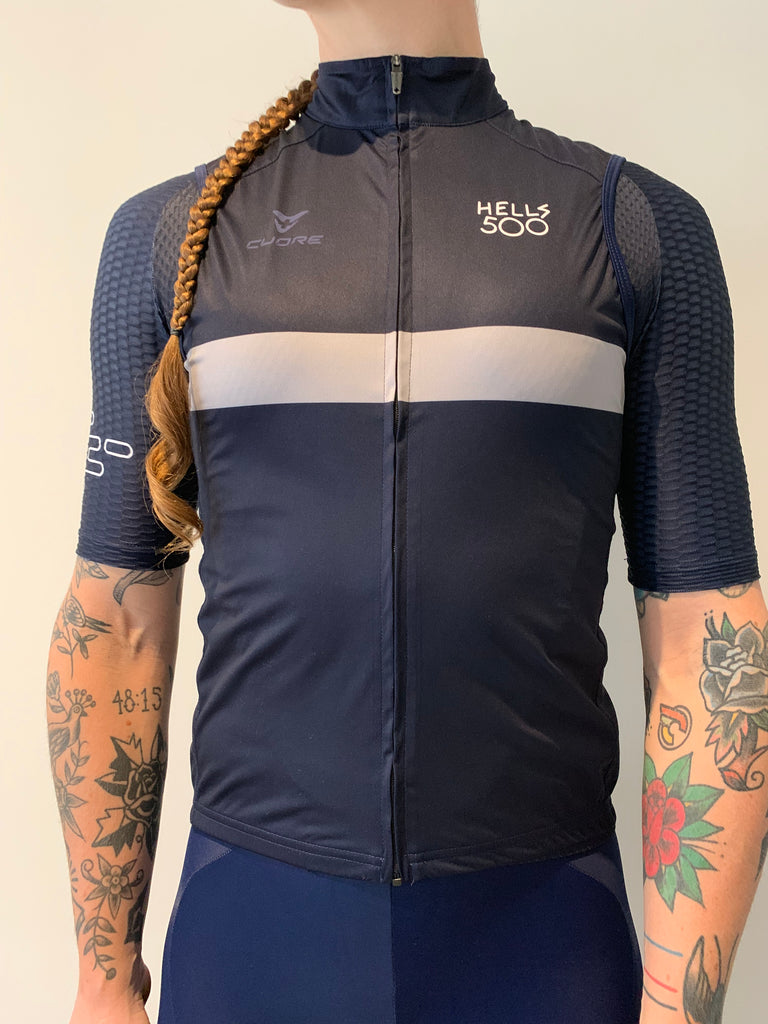 NAVY GREY STRIPE GILET WOMENS