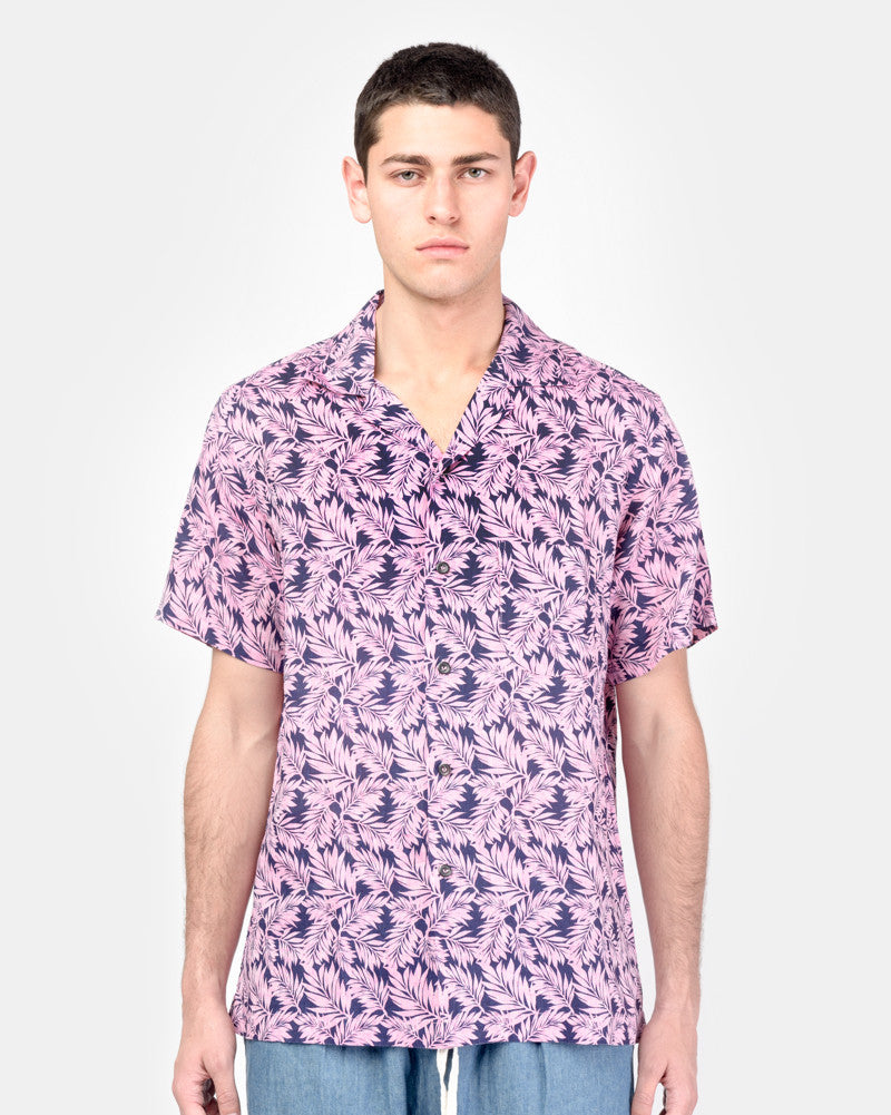 Camp Shirt in Pink Linen Floral SMOCK Man - Mohawk General Store