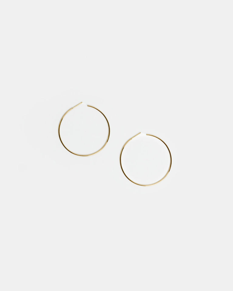 Large Thread Arc Hoops in 14k Gold