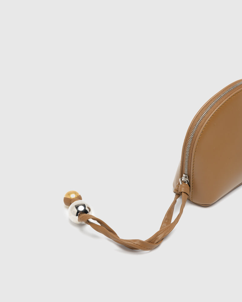 J-Vision Shell Small Clutch in Tan