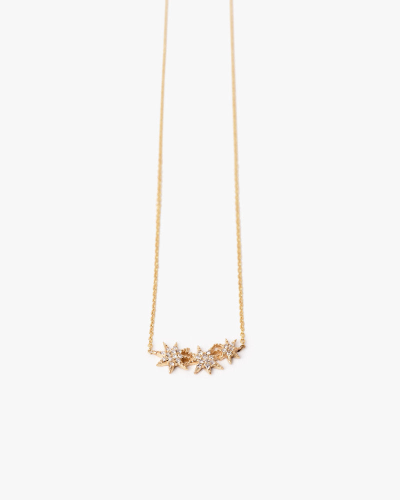 Yellow Gold Triple Star Necklace with Pave Diamonds Gabriela Artigas - Mohawk General Store