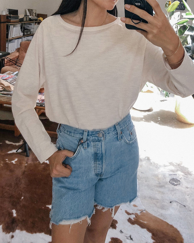 Mid-Thigh Short in Light Wash