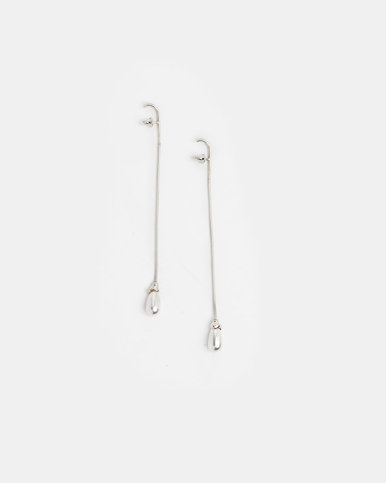 Pearl Snake Earrings in Sterling Silver