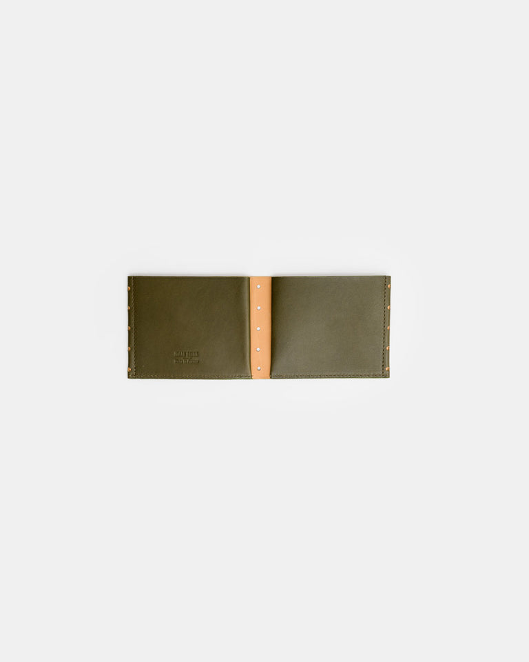 Perforated One Leaf Wallet in Green Tea