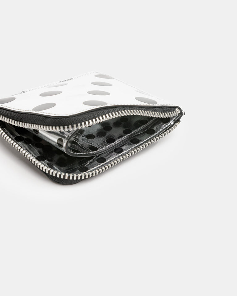 Metallic Dot Zip Wallet in Silver