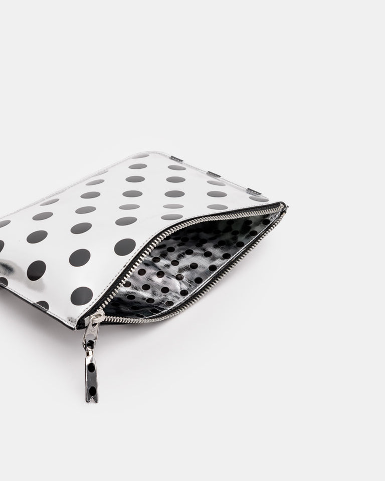 Metallic Dot Pouch in Silver